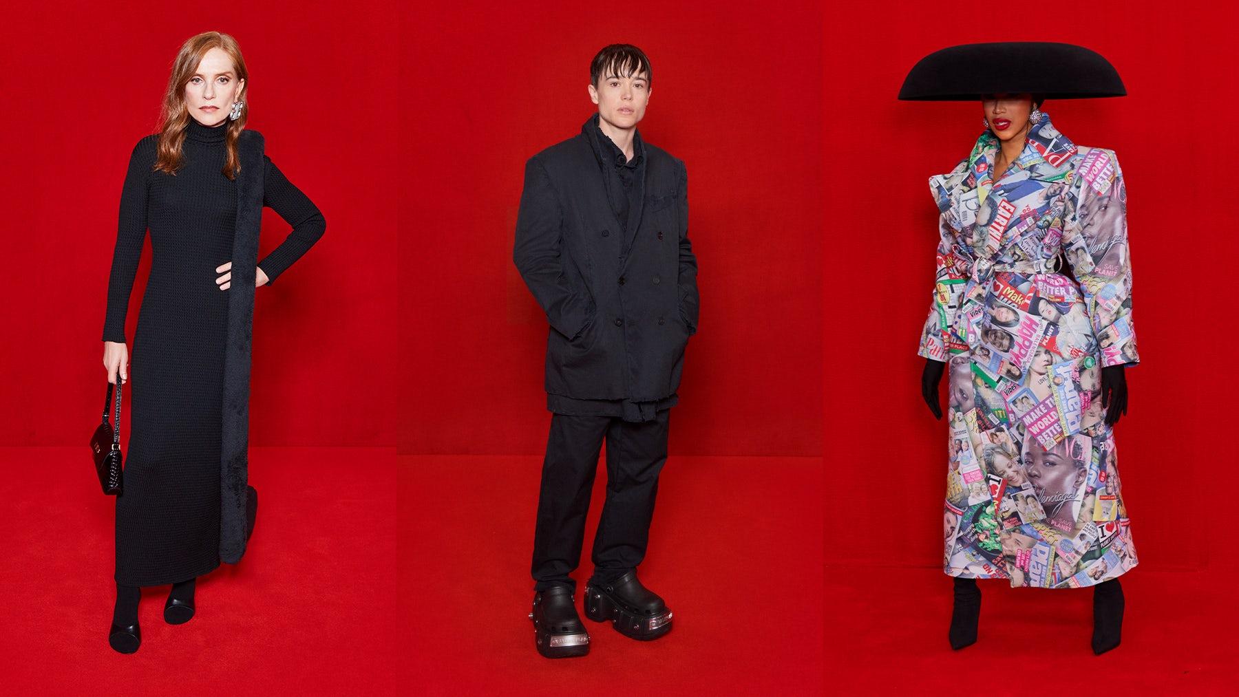 Isa Huppert, Eliot Page and Cardi B in looks from Balenciaga. Balenciaga.