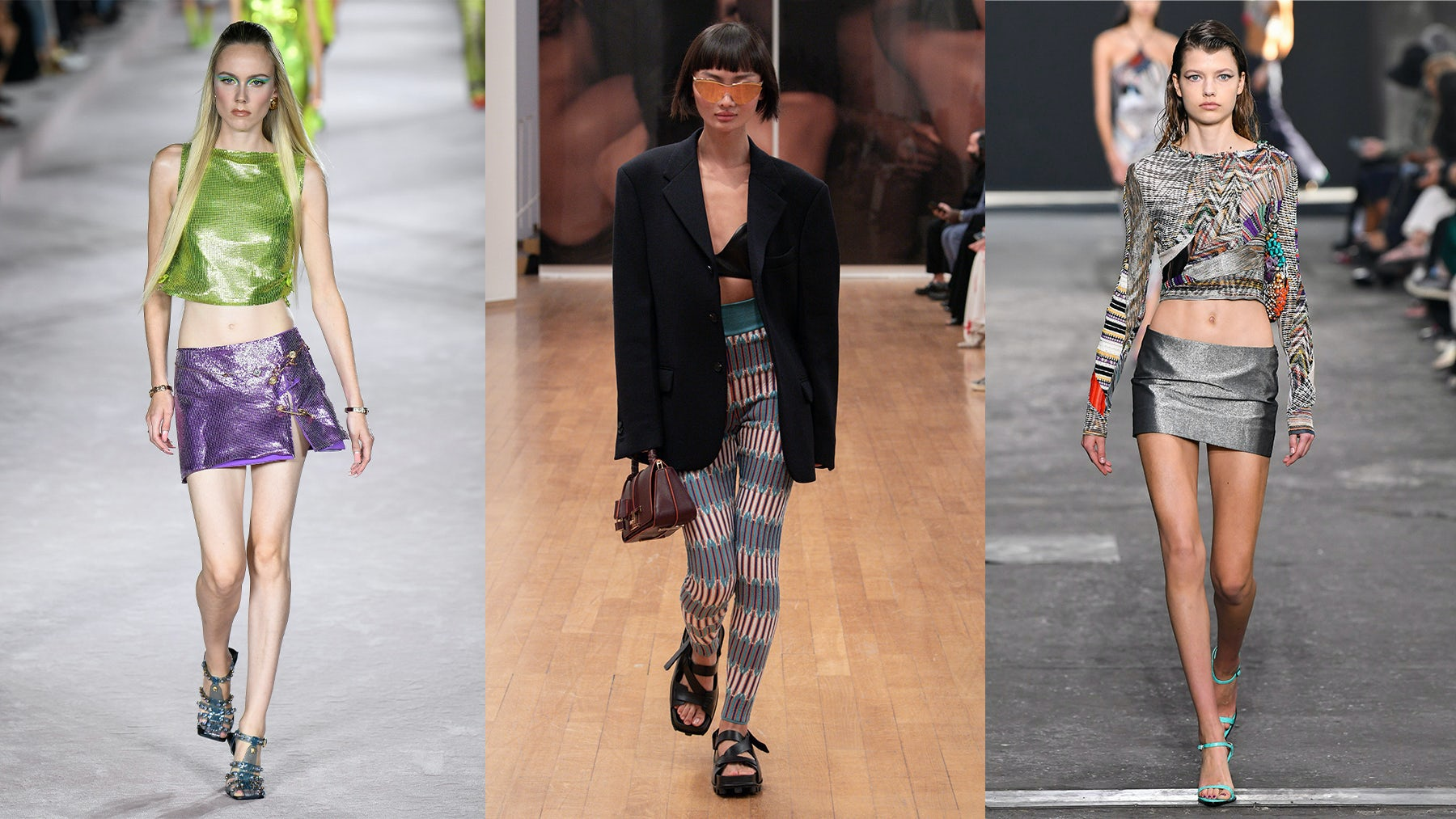 Spring/Summer 2022 looks from Versace, Tod\'s and Missoni. Courtesy.