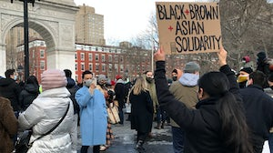 Prabal Gurung attends the End the Violence Towards Asians rally in New York City. Getty Images.