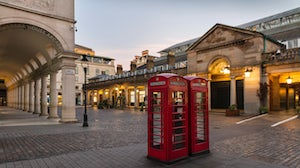 London's Covent Garden Market, normally crowded with tourists and shoppers, was deserted on April 4. Getty Images.