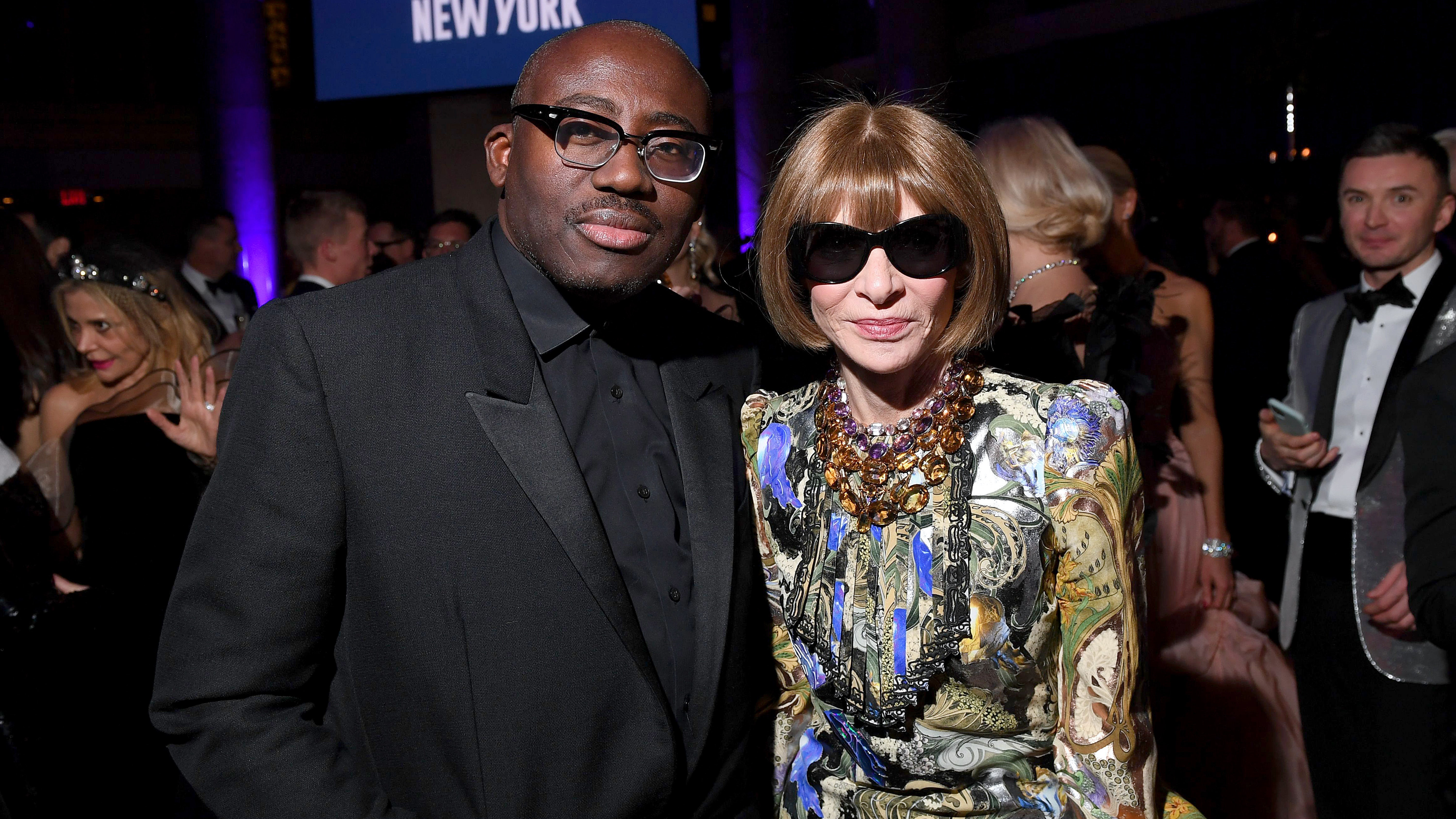 British Vogue editor Edward Enninful and American Vogue editor Anna Wintour have new global responsibilities at Condé Nast. Getty Images.