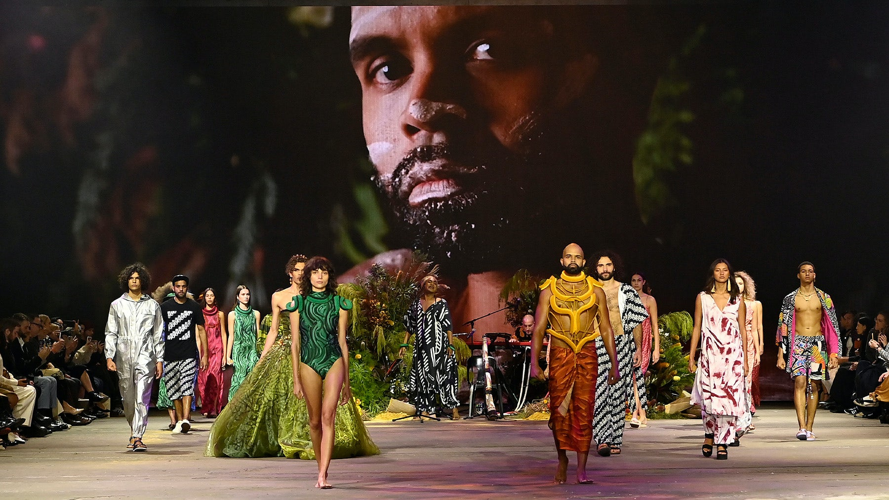 Models on the runway at the First Nations Fashion and Design show at Australian Fashion Week in Sydney on June 2. Getty Images.