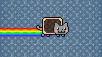 Viral internet cartoon Nyan Cat, a unique version of which sold for $580,000 last month, reimagined as a branded NFT. Zoe Suen for BoF.