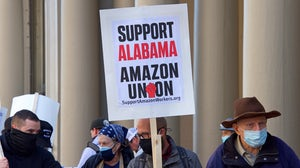 Protestors supporting Amazon workers' union efforts in March. Shutterstock.