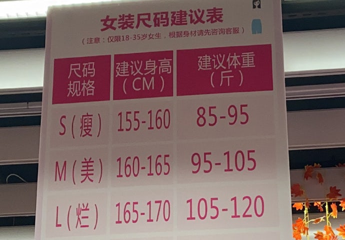 RT-Mart\'s fat-shaming measurement chart. Weibo.