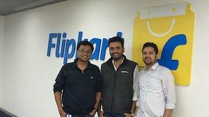 From left: Flipkart co-founders Sachin Bansal and Binny Bansal with Ankit Nagori. Flipkart.