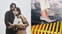 Left, Dominik Sadoch and Chu Wong pose for leather goods designer Steven Ma's first campaign. Casper Sejersen. Right, a crystal inside the transparent heel of Ma's Prism shoe. Chloe Le Drezen.