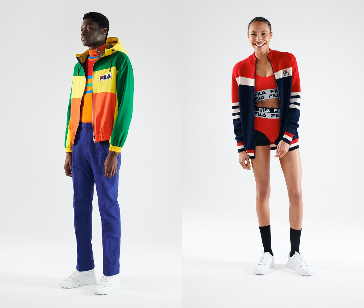 Looks from Fila's 110th anniversary collection. Fila.