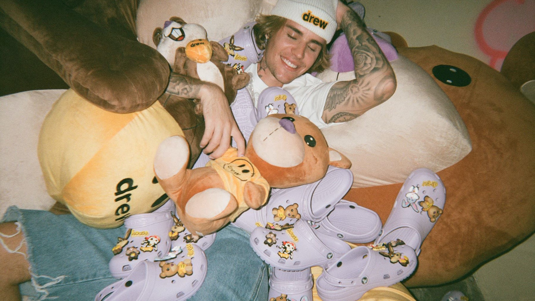 Justin Bieber with his Crocs collab. Crocs.