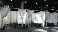 Home to the National Retail Federation Conference, the Jacob Javits Center in New York City was converted to an Army Corps of Engineers field hospital as case counts in New York City spiked. New York National Guard.