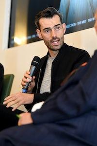 Chris Morton at London Fashion Week. Getty Images.