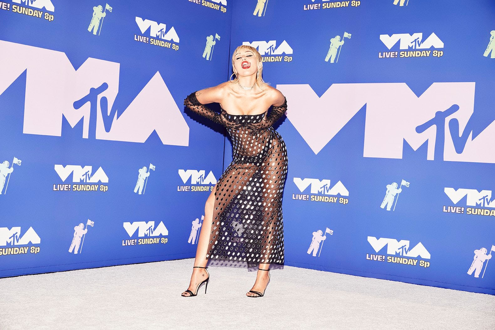 Miley Cyrus wore a transparent Mugler gown by Casey Cadwallader to the MTV Video Music Awards. Courtesy.
