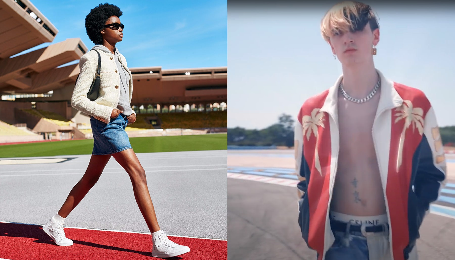 """Celine's """"Portrait of a Generation"""" (left) and """"Dancing Kid"""" (video still, right) collections paid tribute to TikTok-fuelled Gen-Z fashion. Celine."""