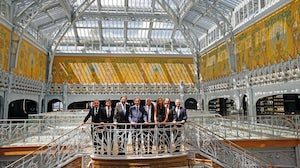 LVMH chief executive Bernard Arnault poses with his executive committee after the ceremony marking Paris' department store 'La Samaritaine' reopening after 16 years of closure. Getty Images.