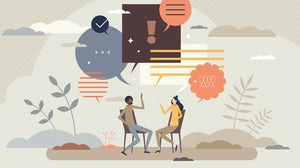Illustration of colleagues sharing career advice. Shutterstock.