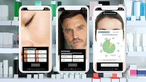 Revieve and No7's AI Skincare Advisor interface. Revieve, BoF collage.