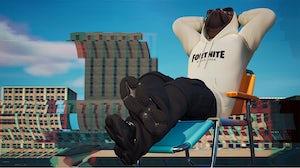Doggo in a Balenciaga x Fortnite hoodie. Fortnite.