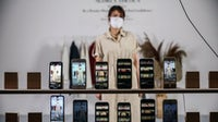 A model showcases designs during a virtual fashion show amid the Coronavirus pandemic in Jakarta, Indonesia. Getty Images.