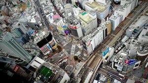 An aerial view of Shibuya, Tokyo. Kazuo ota.