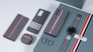 Thom Browne's use of stripes was part of a 2020 collaboration with Samsung. Shutterstock
