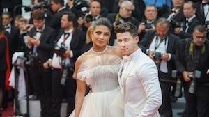 Priyanka Chopra Jonas with husband Nick Jonas at the Cannes Festival in 2019. Shutterstock.