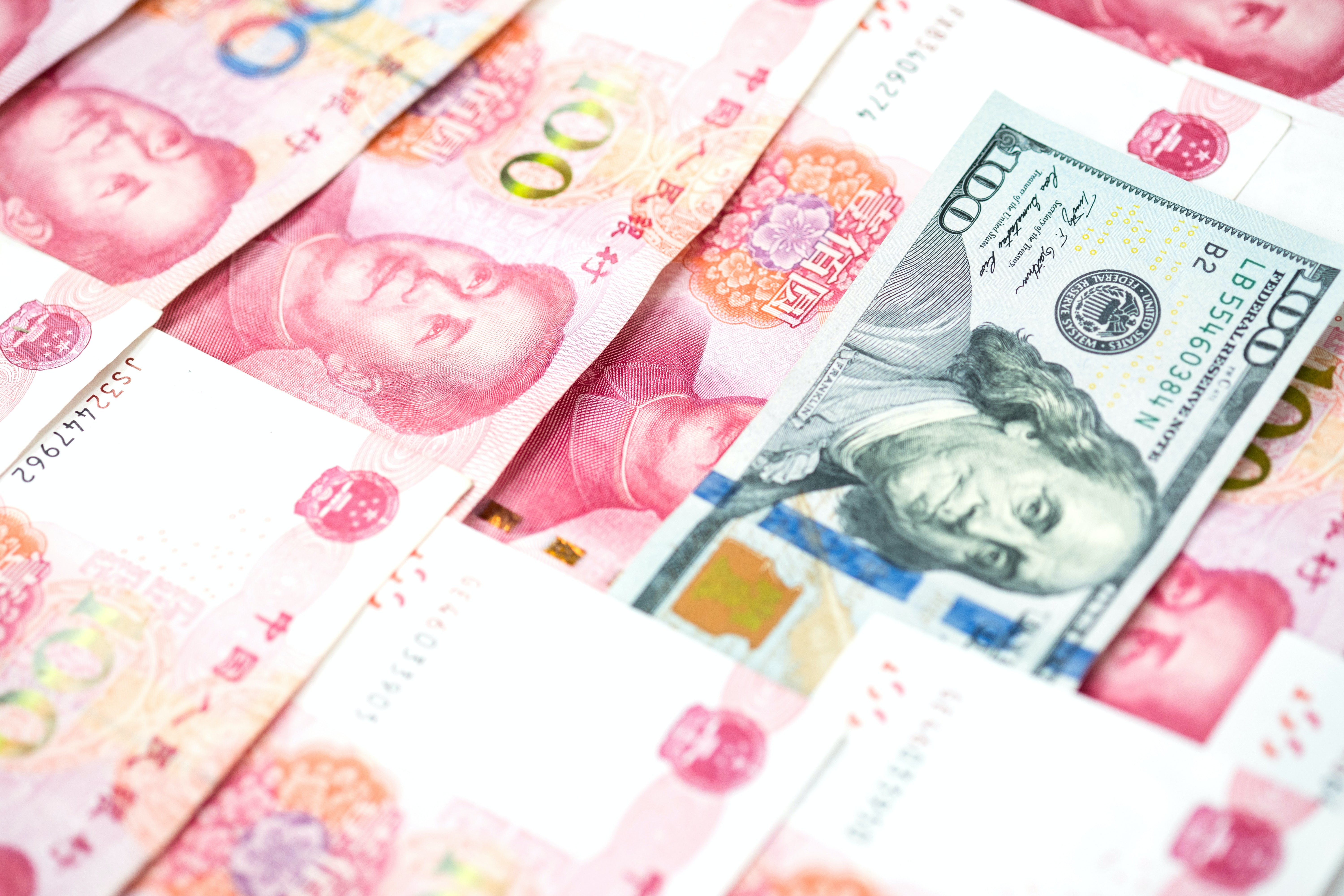 Chinese yuan and US dollar. Shutterstock.