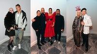L-R: Cora Delaney and Kai-Isaiah Jamal; Imran Amed, Nikhil Mansata, Sonam Kapoor and Anand Ahuja; Jan de Villeneuve and Stephen Jones. Getty Images.