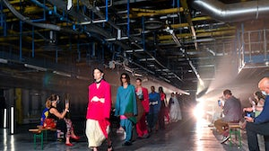 Models walk the runway during the finale at the Pronounce show during LFW September 2020. Getty.
