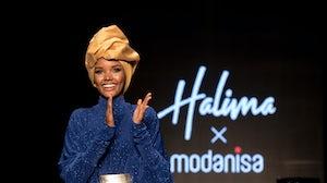 Halima Aden on the Modanisa runway at Istanbul Modest Fashion Week, 2019. Modanisa.