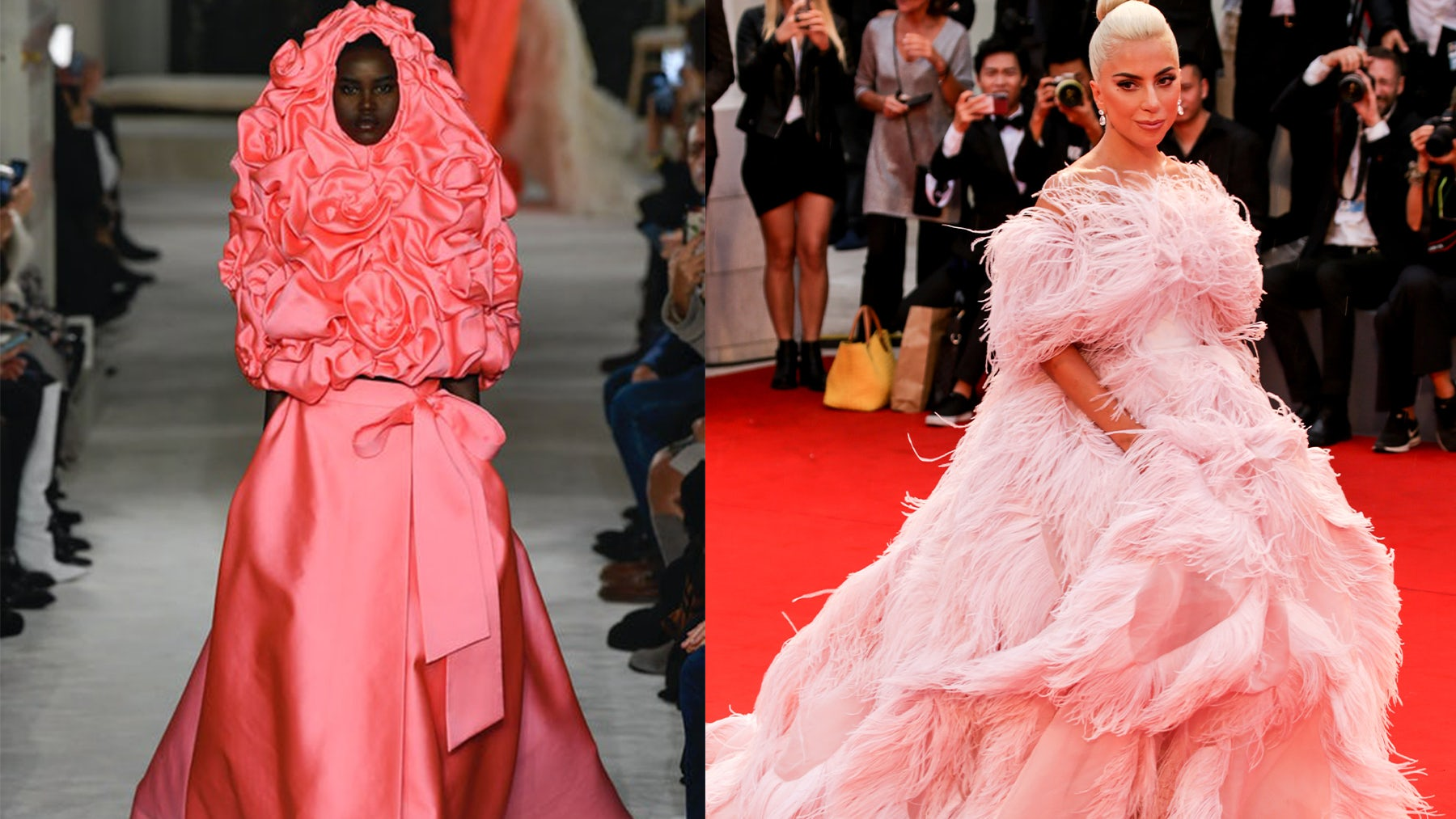 Adut Akech in Valentino Spring 2019 Couture, Lady Gaga in Valentino Fall 2018 Couture. Getty Images.