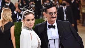 Emily Blunt and Hamish Bowles at the 2021 Met Gala. Sean Zanni/Patrick McMullan via Getty Images