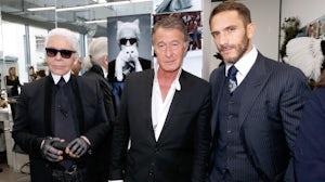 Karl Lagerfeld, Eric Pfrunder and Sebastien Jondeau. Getty.