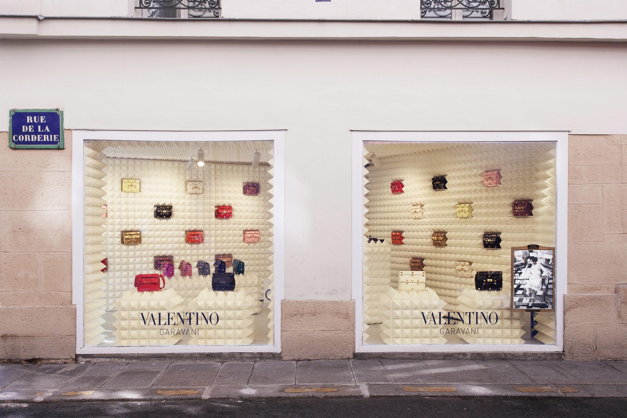 A pop-up shop featuring Valentino Garavani Roman Stud bags in Paris. Courtesy.
