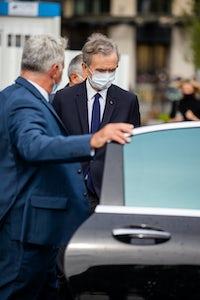 LVMH chairman Bernard Arnault outside Louis Vuitton's Spring/Summer 2021 show. Getty.