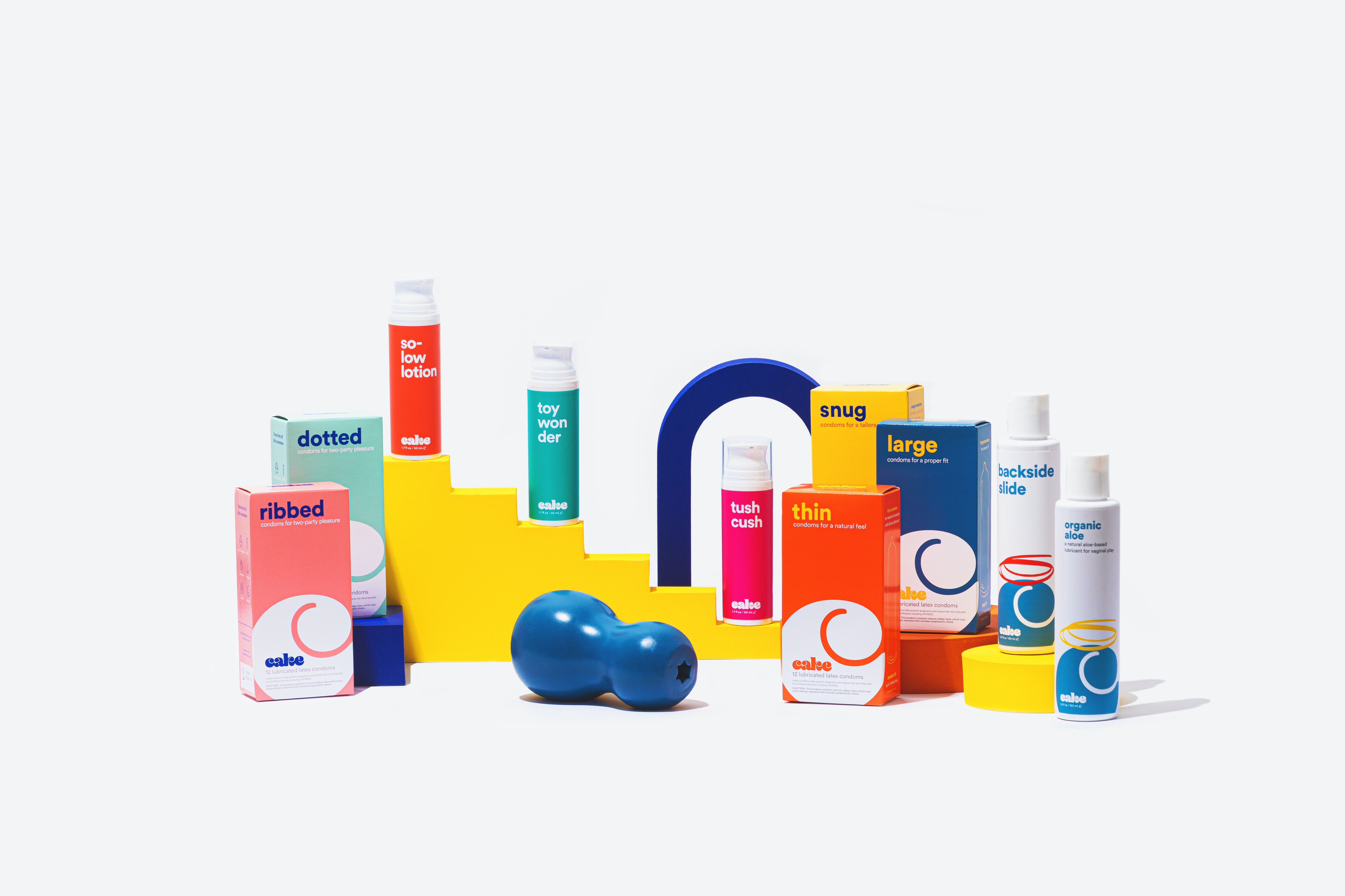 Cake\'s product lineup, which includes a lube designed for sex toys and a personal penis massager. CourtesyCake\'s product lineup, which includes a lube designed for sex toys and a personal penis massager. Courtesy