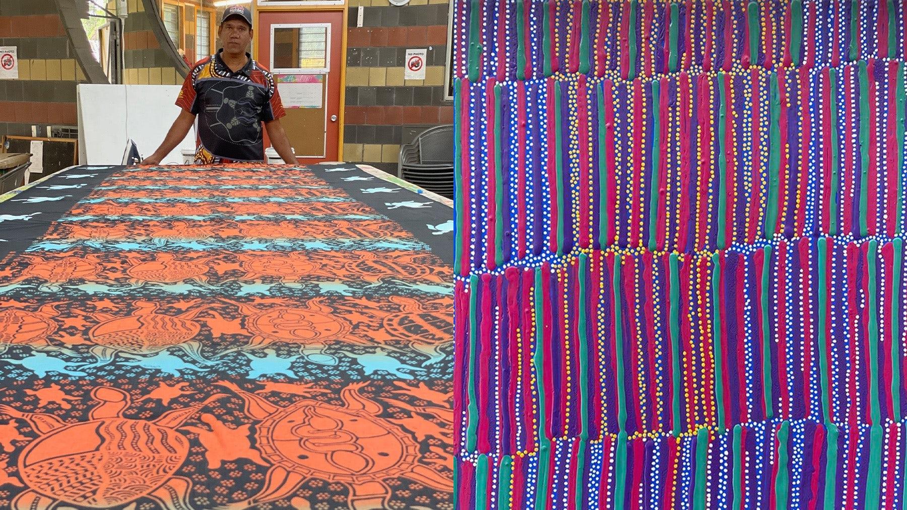 Wayne Connolly and his textile creation at Yarrabah Art Centre & Cultural Precinct; Design by artist Lisa Michl Ko-manggén OAM. Bernard Singleton; Cape York Arts.