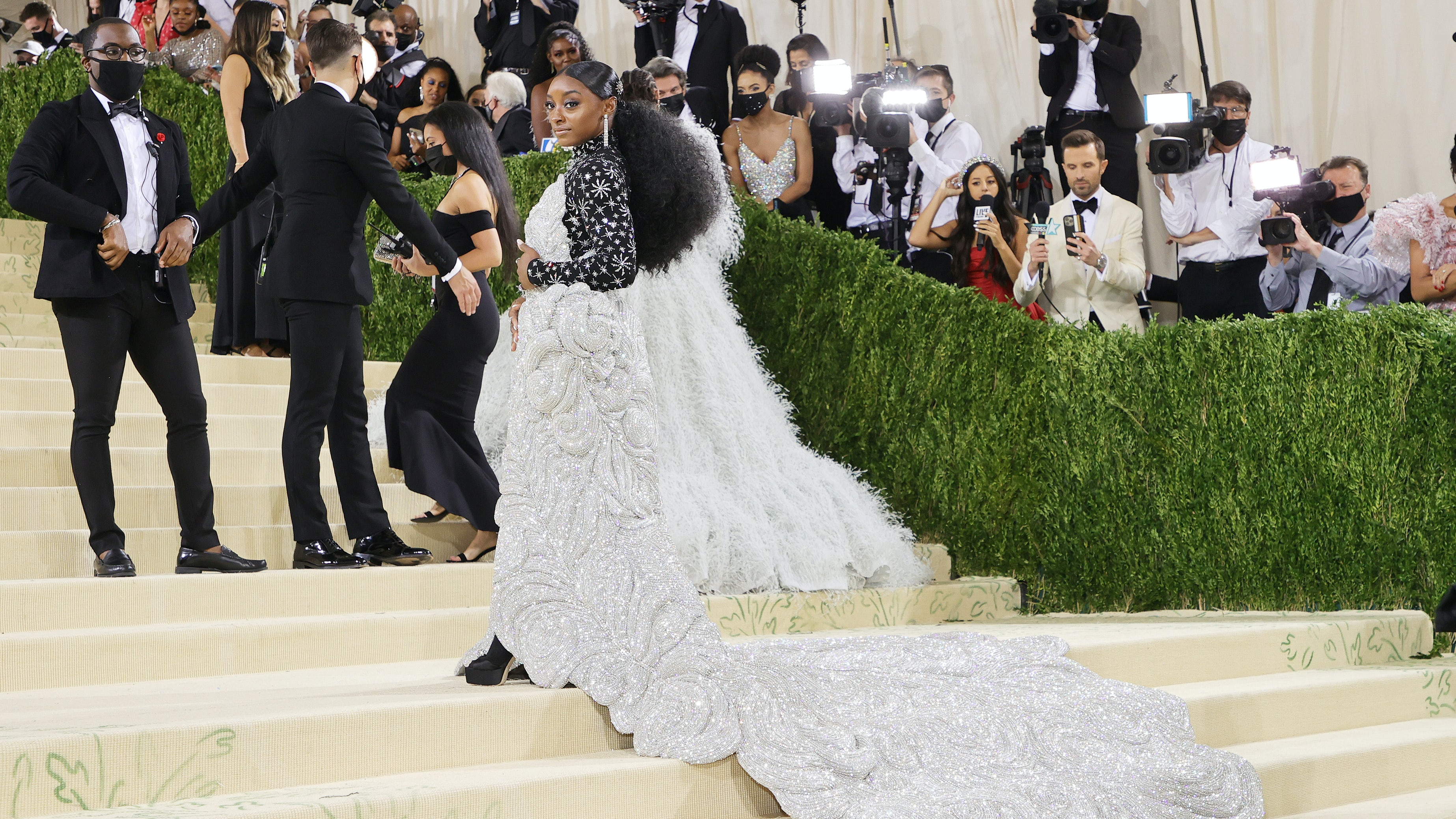 Simone Biles wears Area to the 2021 Met Gala. Mike Coppola/Getty Images