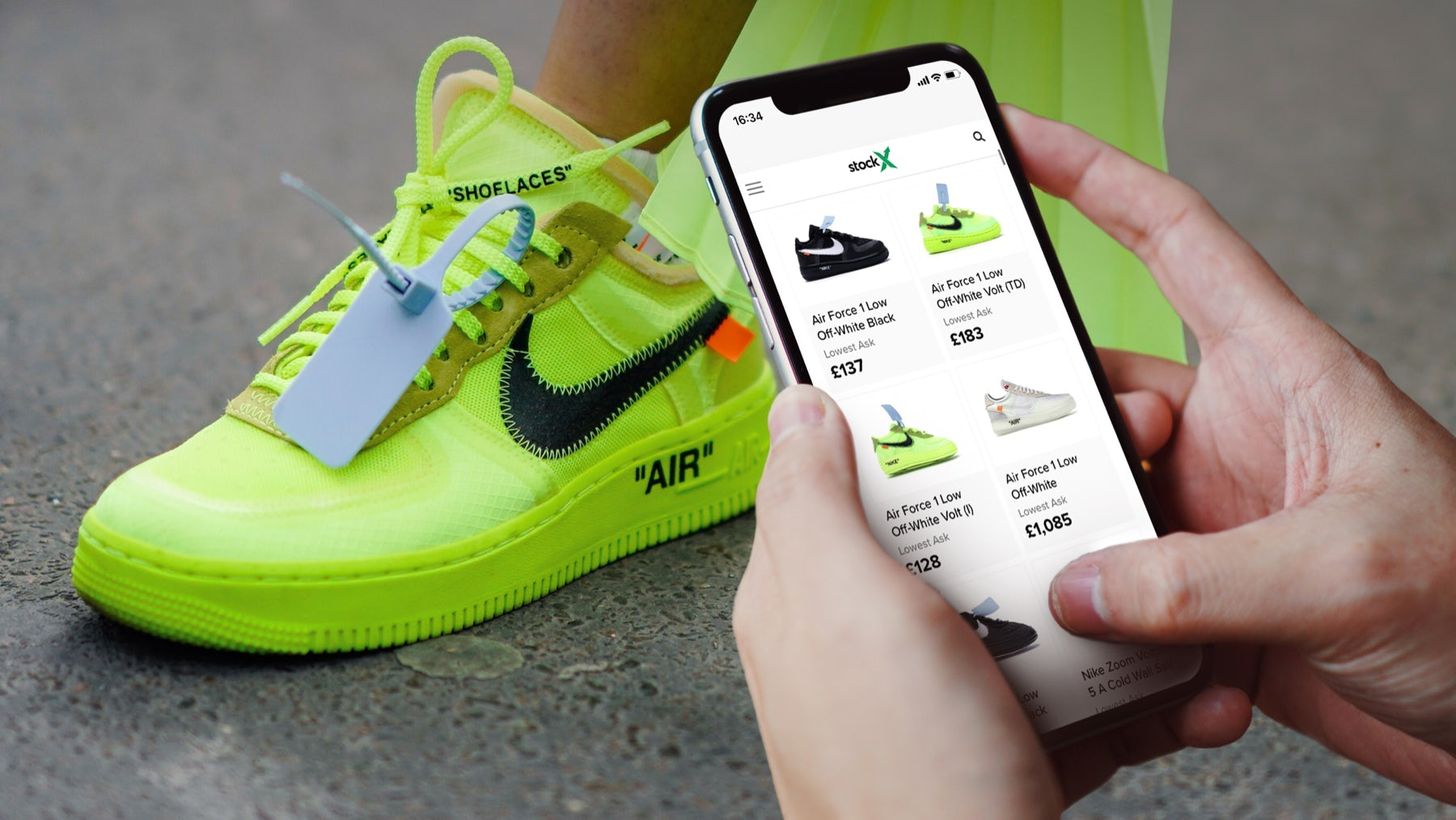 Nike Air Force 1 Low Off-White Volt. Getty Images.
