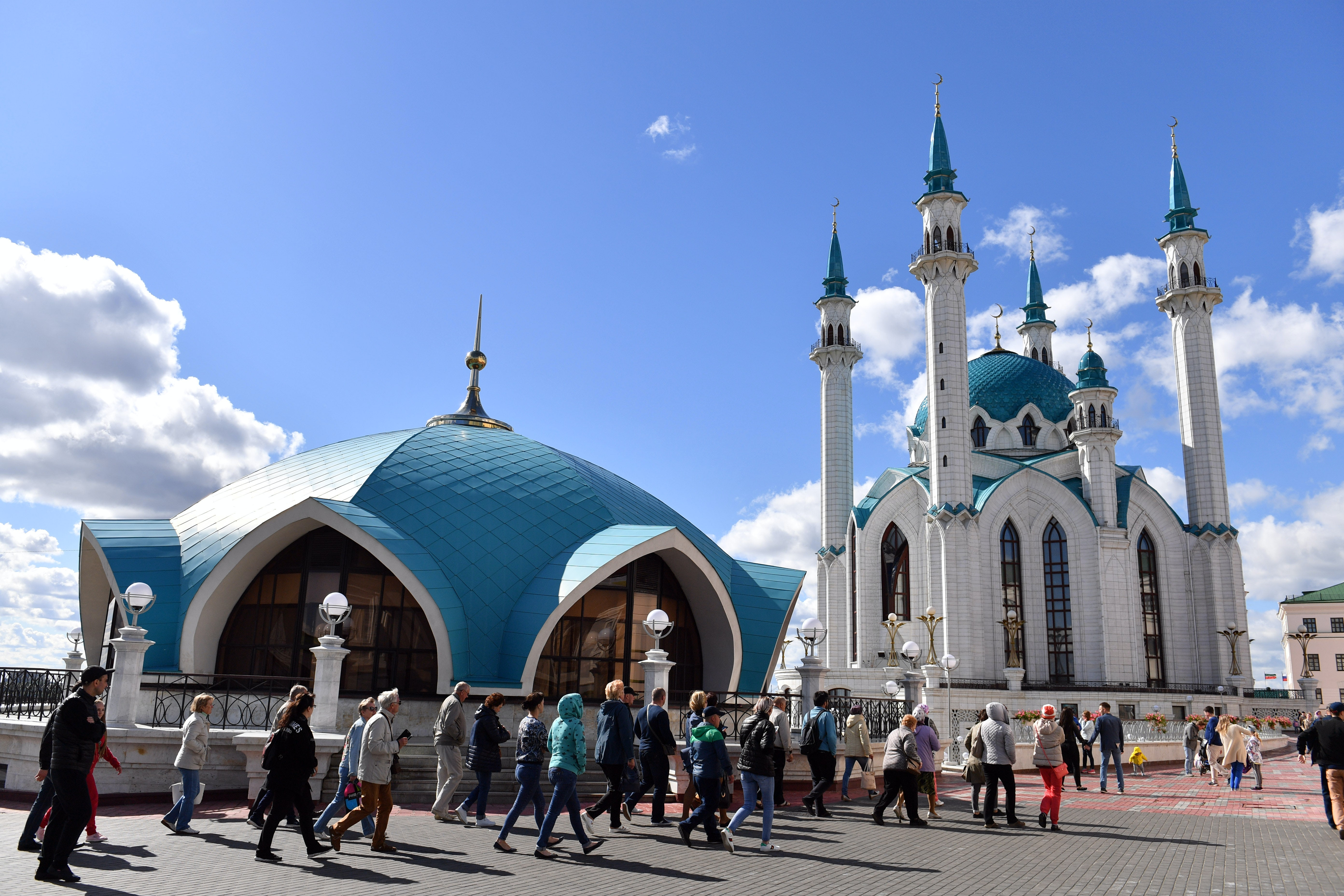 The Kul-Sharif Mosque is a landmark in Kazan, Russia. Getty Images.