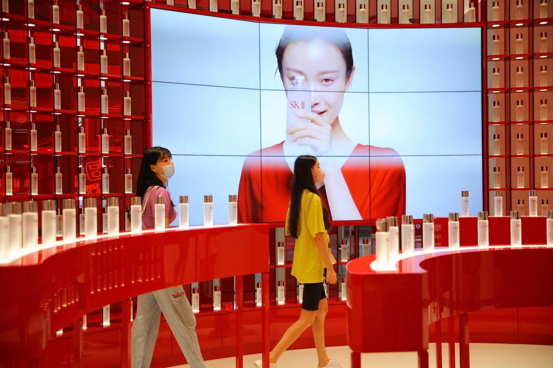 Customers purchase cosmetics at a duty-free shop in the Hainan Province of China. Getty.