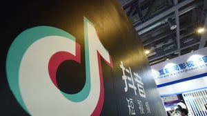 A stand of TikTok is pictured at The First International Artificial Products Expo Hangzhou in October 2019. Getty.