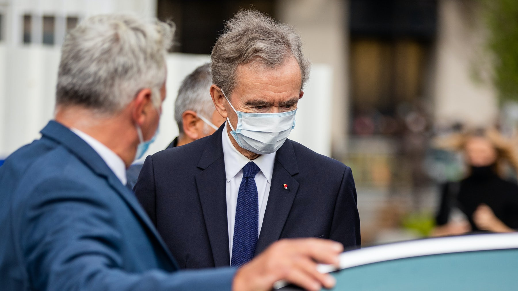 Bernard Arnault leaves the Louis Vuitton spring 2021 womenswear show in October 2020. Getty Images.