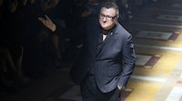 Alber Elbaz acknowledges the audience at the end of the Lanvin 2015 Spring/Summer ready-to-wear collection fashion show. Getty Images.