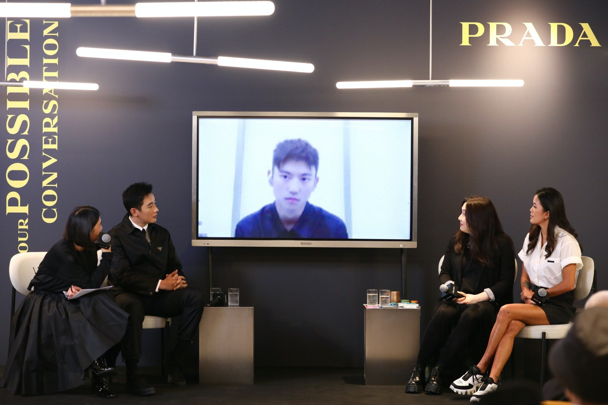 Surfer Monica Guo, actor Luo Jin, architect and professor Lyla Wu and swimmer Ning Zetao discuss ocean conservation at Prada\'s 'Possible Conversations\' talk on December 9, 2020. Prada.