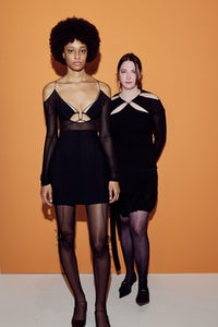 Nensi Dojaka, right, at the LVMH Prize event alongside a model sporting her Autumn/Winter 2021 collection. LVMH.