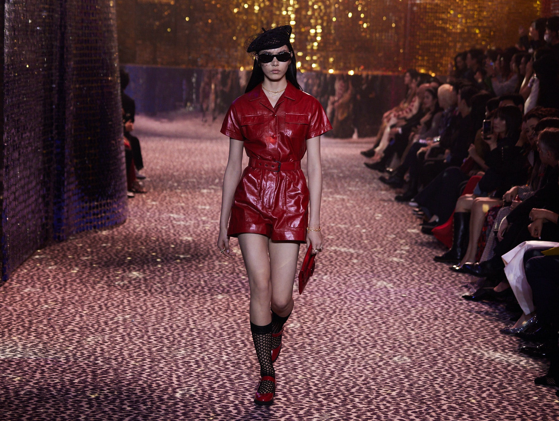 A look from Dior\'s Pre-Fall 2021 collection on the runway in Shanghai. Dior.