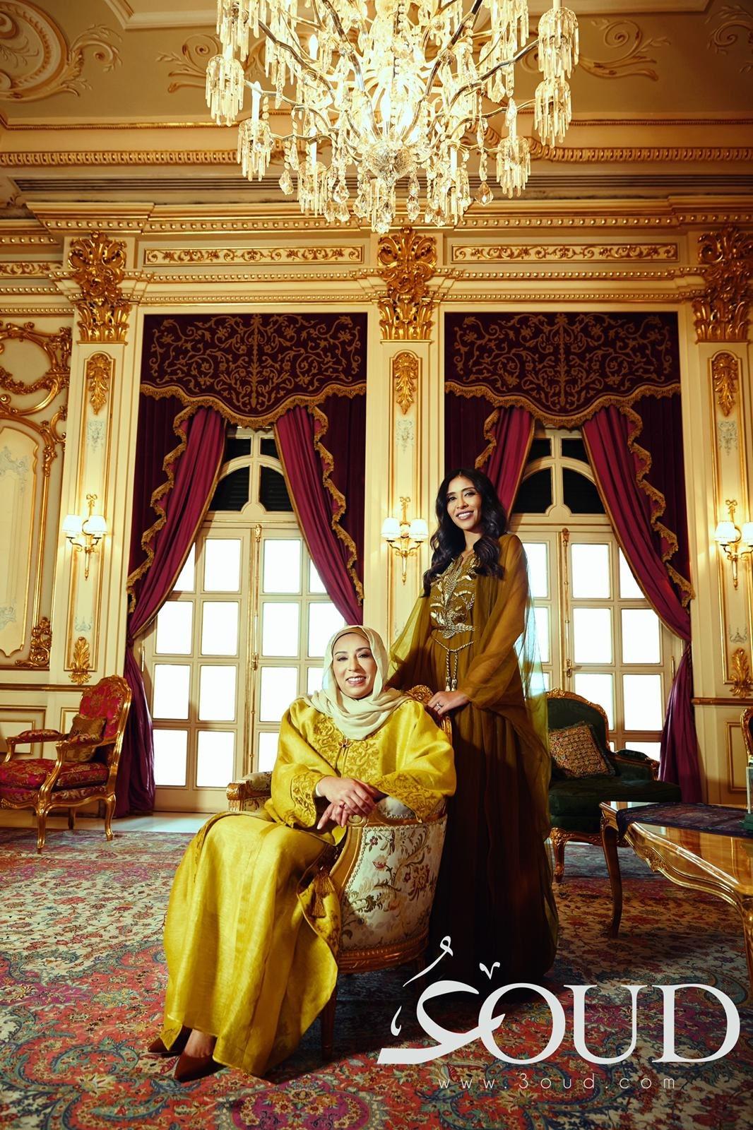 Sheikha Fadia Saad Al-Abdullah Al-Sabah and her daughter Sheikha Nabila Salman Al-Hamoud Al-Sabah pose for a recent 3oud photo shoot. 3oud.