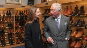Prince Charles, Prince of Wales visiting shoemaker Tricker's. Getty Images.