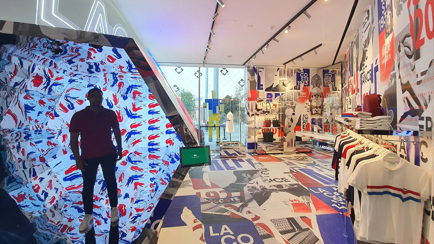 Lacoste has created an Expo-themed capsule collection for its pop-up within the France Pavilion. Chalhoub.