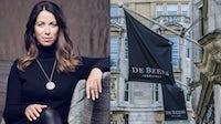 Céline Assimon, chief executive of De Beers; the De Beers store in Old Bond Street in London. De Beers; Shutterstock.